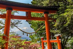 Red tori with Mount Fuji in the background at Chureito pagoda Stock Image