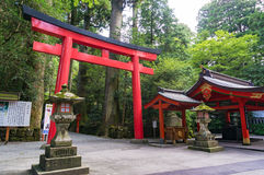 Red Torii gate at the entrance of Hakone Shrine Royalty Free Stock Photography