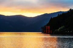 Red torii gate at Lake Ashi, Hakone Royalty Free Stock Images