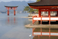 Red torii gate in the water. Red floating torii gate outside Itsukushima Shrine at Miyajima at low tide (one of the three most photographed places in Japan Stock Images