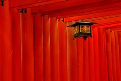 Red torii gates and lantern Stock Photos
