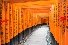 the red torii gates walkway at fushimi inari taisha shrine in Ky Stock Photo