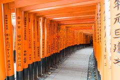 The red torii gates walkway at fushimi inari taisha shrine in Ky Royalty Free Stock Images