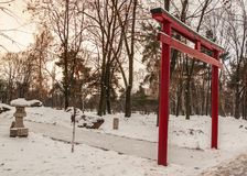 Red torii in a Japanese garden in Kiev Royalty Free Stock Image