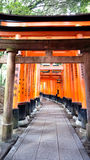 Red torii shrine at Fushimi Inari temple, Kyoto Japan Stock Photos