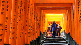 Red torii shrine at Fushimi Inari temple, Kyoto Japan Stock Photo