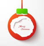 Red torn paper christmas ball Stock Photo