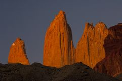 Red torres del paine towers at sunrise. Torres del paine national park, chile Royalty Free Stock Photo