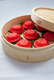 Red tortoise cake, 紅龜粿, Pe̍h-ōe-jī, Ang Ku Kueh, Kue Ku. Small round or oval shaped Chinese pastry with soft sticky glutinous rice flour skin wrapped Stock Photos