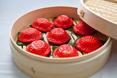 Red tortoise cake, 紅龜粿, Pe̍h-ōe-jī, Ang Ku Kueh, Kue Ku. Small round or oval shaped Chinese pastry with soft sticky glutinous rice flour skin wrapped Royalty Free Stock Images