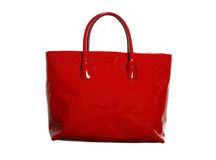 Red tote bag. Isolated on white Royalty Free Stock Photos