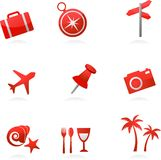 Red tourism icons stock illustration