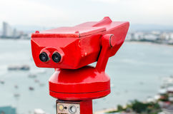 Red tourist binoculars Royalty Free Stock Photography