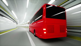 Red tourist bus in a tunnel. fast driving. tourism concept. 3d animation. Red tourist bus in a tunnel. fast driving. tourism concept. 3d animation stock video