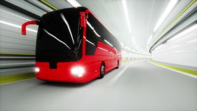 Red tourist bus in a tunnel. fast driving. tourism concept. 3d animation. Red tourist bus in a tunnel. fast driving. tourism concept. 3d animation stock video footage