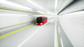 Red tourist bus in a tunnel. fast driving. tourism concept. 3d animation. stock footage