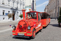 red tourist train in the center of Bratislava Stock Images