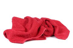 Red towel isolated on white background Stock Photography