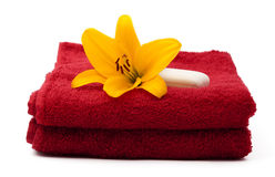 Red towel with lily Royalty Free Stock Photo