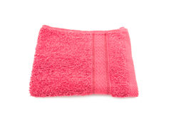 Red towel on white background Stock Photo