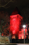 Red tower. Lausanne. Switzerland. winter night Royalty Free Stock Photos