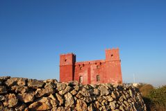 Red tower. St. Agatha's Tower in Malta. It is also known as the Red Tower Stock Photography