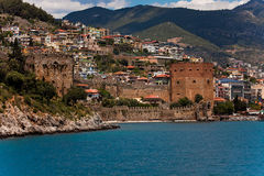 Red Tower in Alanya Stock Photography