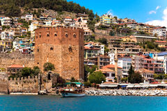 Red Tower in Alanya Royalty Free Stock Photography