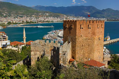 Red tower in Alanya Royalty Free Stock Photos