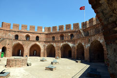Red Tower of Alanya Castle Stock Photography