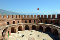 On the Red Tower of Alanya Castle Stock Images