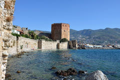 Red Tower of Alanya Castle Royalty Free Stock Photography