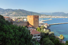 Red Tower in Alanya Royalty Free Stock Photo