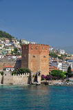Red Tower in Alanya Stock Image
