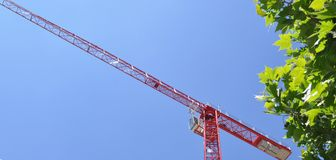 Red tower construction crane Stock Images