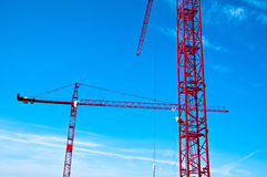 Red tower construction cranes Stock Photo
