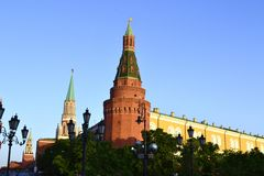 The Red Tower. Red corner tower of the Kremlin near Red Square Stock Photo