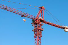 Red tower crane. Royalty Free Stock Photos