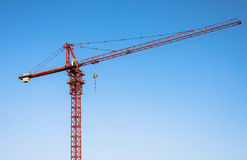 Red tower crane. Royalty Free Stock Image