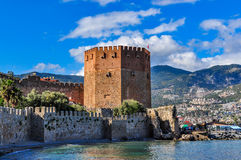 Red tower Kizil Kule in Alanya on a cloudy day Stock Photography
