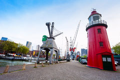 Red tower and Leuvehaven during day in Rotterdam Royalty Free Stock Photos