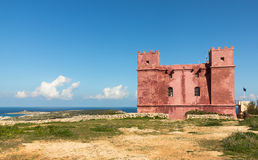 Red Tower in Malta. Historical Fortress in Malta Royalty Free Stock Photo