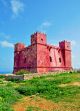 Red tower in Malta. Red tower in Maltese islands Stock Photos