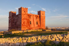 Red Tower in Malta. Saint Agatha`s Tower, also known as the Red Tower. Malta Stock Image