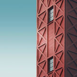 Red Tower. Minimal. Fachwerk house Stock Image