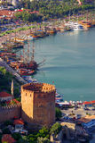 Red Tower named Kızıl Kule in Alanya Royalty Free Stock Photography