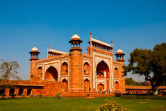 Red tower of Taj Mahal complex in Agra, India Stock Image