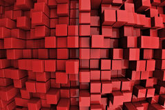 Red Towers. 3D Red Blocks Abstract Background Stock Photography
