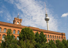 The Red Town Hall and television tower - Berlin Royalty Free Stock Photo