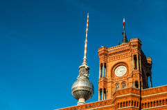 Red townhall and TV tower Stock Photography